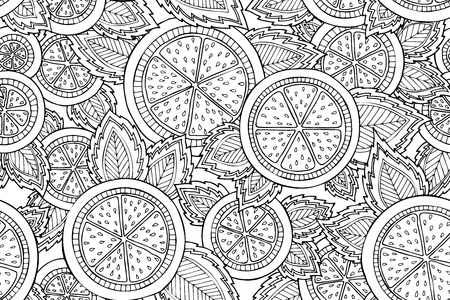 Black and white seamless pattern with lemons, oranges and leaves. Graphic citrus background Stok Fotoğraf