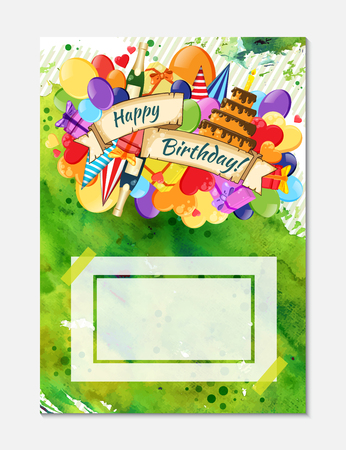 Colorful doodle hand drawn holiday poster template. Colorful vector artwork. Corporate identity design. Pattern with lots of objects