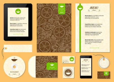 Restaurant menu with orange, lemon pattern. Citrus corporative identity vector background. Set of corporate identity templates with fruits. Menu, id card, banners, coffee cup and business card