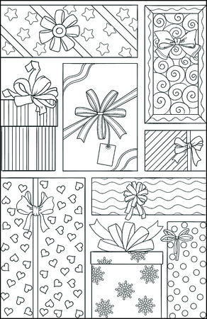 Holiday theme. Black and white graphic doodle hand drawn sketch for adult coloring book. Page for kids colouring. Gifts dots, snowflake, flowers pattern. Birthday, Valentine, Christmas gift box