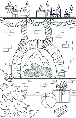 New year and Christmas theme. Black and white graphic doodle hand drawn sketch for adult or kids coloring book. Fire-place, Christmas socks and tree, gifts, ball and candles