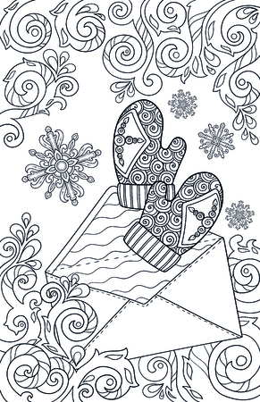 New year and Christmas theme. Black and white doodle hand drawn sketch for adult coloring book. Page for kids colouring. Mittens, letter and winter snow pattern. Graphic snowflakes