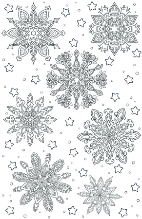 New year and Christmas theme. Black and white graphic doodle hand drawn sketch for adult coloring book. Ethnic pattern snowflakes