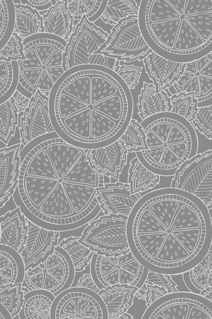 Monochrome grey and white seamless pattern with lemons, oranges and leaves. Graphic citrus background