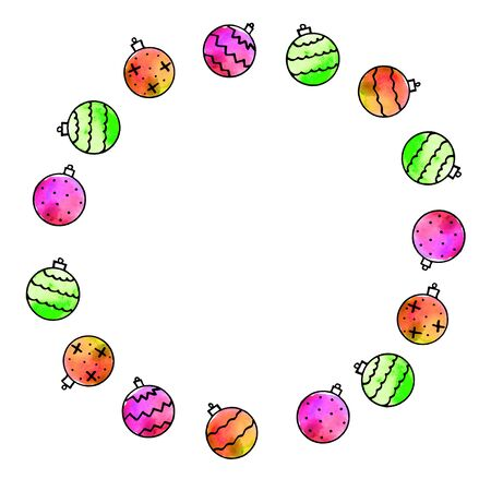 Round frame is made of Xmas tree balls. New Year and Christmas wreath, backgrounds and textures. For greeting cards, photo, design, print
