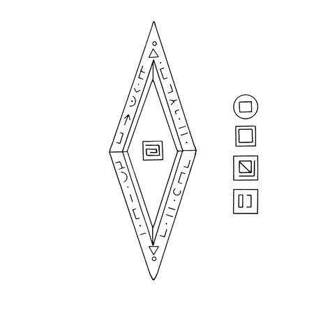 Rhombus, Diamond, crystal, logo of the elements of nature. Elements of ethno, fantasy, antiquity, amulets, secret symbols. Doodle hand drawn outline. Reklamní fotografie