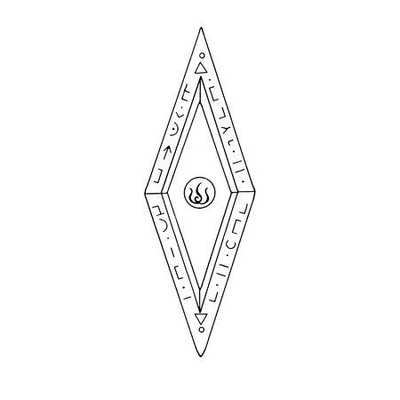 Rhombus, Diamond, crystal, logo of the elements of nature. Elements of ethno, fantasy, antiquity, amulets, secret symbols. Doodle hand drawn outline. Reklamní fotografie - 135465366