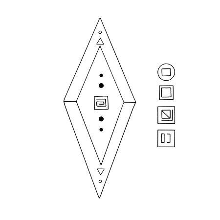 Rhombus, Diamond, crystal, logo of the elements of nature. Elements of ethno, fantasy, antiquity, amulets, secret symbols. Doodle hand drawn outline. Reklamní fotografie - 135465370