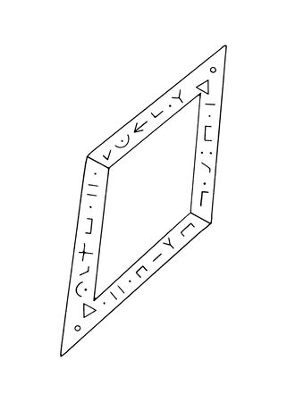 Diamond, crystal, logo of the elements of nature. Elements of ethno, fantasy, antiquity, amulets, secret symbols. Doodle, hand drawn, outline. Reklamní fotografie - 135465499