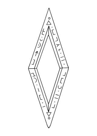 Diamond, crystal, logo of the elements of nature. Elements of ethno, fantasy, antiquity, amulets, secret symbols. Doodle, hand drawn, outline.
