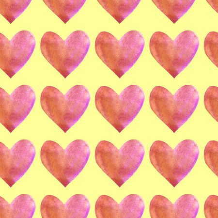 Seamless pattern with watercolor hearts. Romantic love hand drawn backgrounds texture. For greeting cards, wrapping paper, packaging, wedding, birthday, fabric, textile, Valentine's Day, mother's Day.