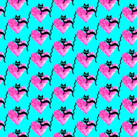 Cute seamless pattern with hearts and cats. Romantic texture for backgrounds, wrapping paper, packaging, greeting cards, prints, covers, fabric, textile, birthday, Valentines Day.