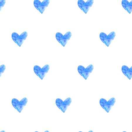 Seamless pattern with watercolor hearts. Romantic love hand drawn backgrounds texture. For greeting cards, wrapping paper, packaging, wedding, birthday, fabric, textile, Valentines Day, mothers Day.