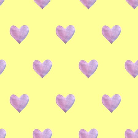 Seamless pattern with watercolor hearts. Romantic love hand drawn backgrounds texture. For greeting cards, wrapping paper, packaging, wedding, birthday, fabric, textile, Valentine's Day, mother's Day. 免版税图像