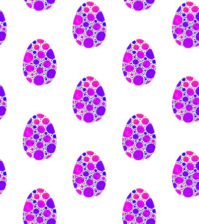 Seamless pattern, backgrounds, textures of multi colored abstract Easter eggs. Watercolor decorative drawing.