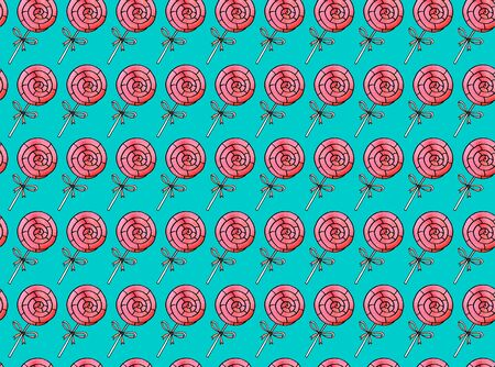 Seamless hand drawn pattern. Watercolor candy cane, sweets, lollipop. Valentines Day, birthday backgrounds and texture. For greeting cards, wrapping paper, fabric, print.