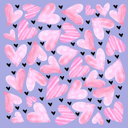 Backgrounds, textures, frames, seamless patterns of watercolor hearts. Hand drawn. Love romance theme for birthday, Valentine's day, greeting card, wedding, wrapping paper. 免版税图像
