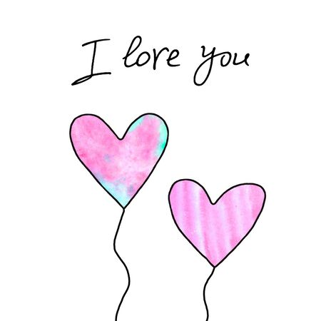 I love you. Pair of pink hearts. Symbol of love, romance. Template for postcards. Simple illustration for Valentines day, birthday, mothers day, greeting card, web. Hand drawn. Banco de Imagens