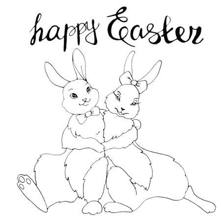 Happy Easter. Cute hugging bunny, rabbits, hares. Contour illustration for coloring book, greeting card, web. Outline hand drawn. 스톡 콘텐츠