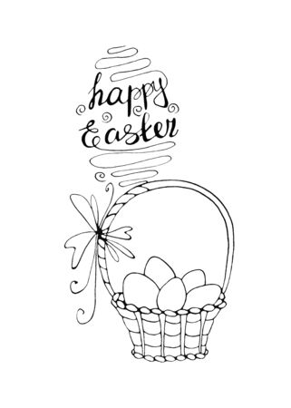 Happy Easter. Outline Basket with eggs and Tulip flowers. Design element for spring, holiday, coloring book, greeting card. 版權商用圖片
