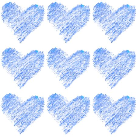 Seamless pattern with color pencil hearts. Romantic love hand drawn background texture. For greeting cards, wrapping paper, packaging, wedding, birthday, fabric, Valentine's Day, mother's Day.