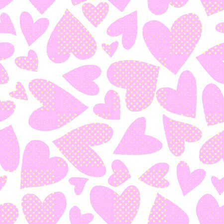 Seamless pattern with pink hearts. Romantic love hand drawn backgrounds texture. For greeting cards, wrapping paper, wedding, birthday, fabric, textile, Valentines Day, mothers Day, easter.