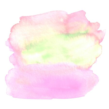 Abstract watercolor aquarelle hand drawn blot colorful blue red pink green yellow orange purple paint splatter stain spot.