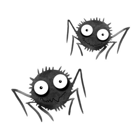 Cute watercolor spiders. Hand drawn. Isolated on white background. Halloween illustration.