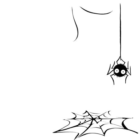 Cute spider on the web. Hand drawn. Isolated on white background. Halloween illustration.