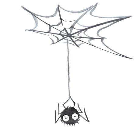 Illustration of cute Spider on Web. Hand drawn. Isolated on white background. Halloween. Reklamní fotografie