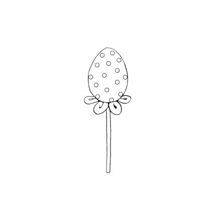 Contour decorative egg candy Lollipop. Design element for Easter, Valentines Day, holidays. Hand drawn. Reklamní fotografie