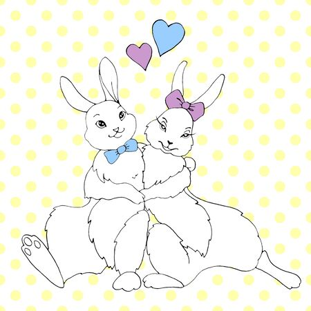 Cute hugging happy bunnies, rabbits, hares on background of polka dots. Seamless pattern. Contour illustration for Valentines Day, Easter, coloring book, postcard, web. Outline hand drawn. Reklamní fotografie