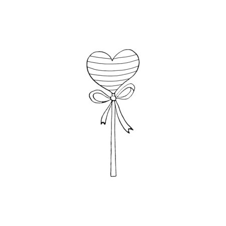 Contour Heart Shaped Lollipop Candy with ribbon. Coloring page, Valentines Day, Easter, holidays clip art element. Hand drawn, outline, black and white, simple illustration.