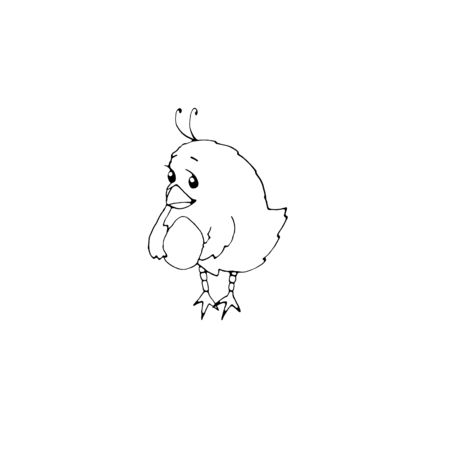 Cute little chicken with egg in doodle style. Collection of characters, icons, design elements on the theme of Easter, animal, farm summer and spring season. Hand drawn simple coloring book. Reklamní fotografie