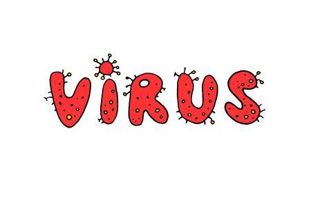 Coronavirus,Virus. Red letters header lettering doodle handwritten.
