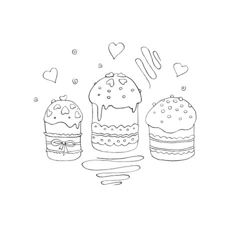 Outline Easter cake or sweet bread or Paska. Simple hand drawn illustration. Traditional orthodox food in contour doodle cartoon style for coloring book, spring, holiday, greeting card.