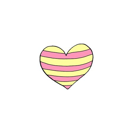 Simple hand drawn decorative heart isolated on white background. Pattern of dots and lines, pink and yellow. Hello spring. happy Easter. Design element.