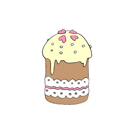 Color Easter cake or sweet bread or Paska. Simple hand drawn illustration. Traditional orthodox food in cartoon style for sticker, icons, print, spring, holiday, greeting card. Reklamní fotografie