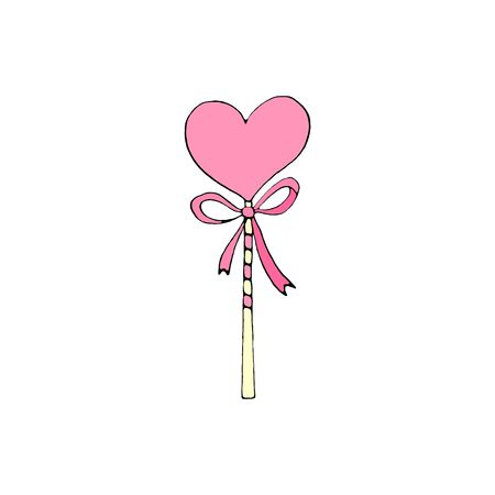 Color Heart Shaped Lollipops Candy with ribbon. Valentines Day, Easter, holidays clip art element. Simple illustration.