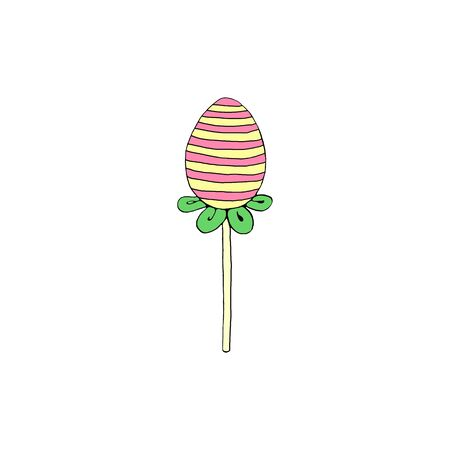 Color decorative egg, candy, Lollipop. Design element for Easter Valentines Day holidays. Hand drawn.