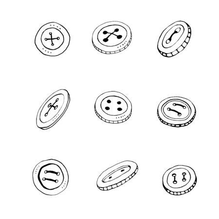 Clothes button contour outline. Accessory, doodle, hand drawn, icon element of design. Reklamní fotografie