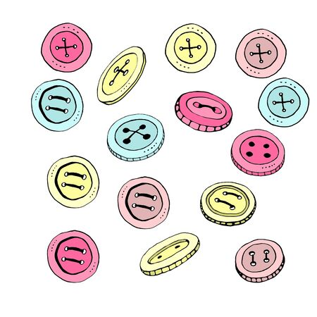 Clothes button color. Accessory, doodle, hand drawn, icon element of design. Pink yellow blue.