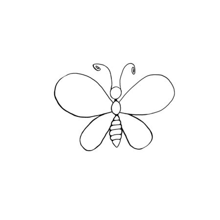 Contour cute butterfly hand drawn in cartoon style Doodle. Simple outline design element for spring, summer, postcard. Template for creativity for children, preschool education.
