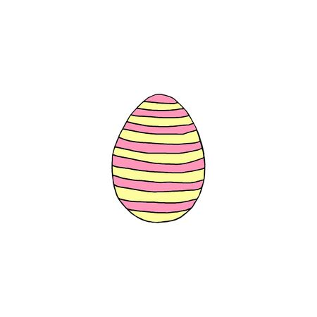 Hand drawn Easter egg isolated on white background. Pattern of dots and lines, pink yellow. Hello spring. Design element. Reklamní fotografie