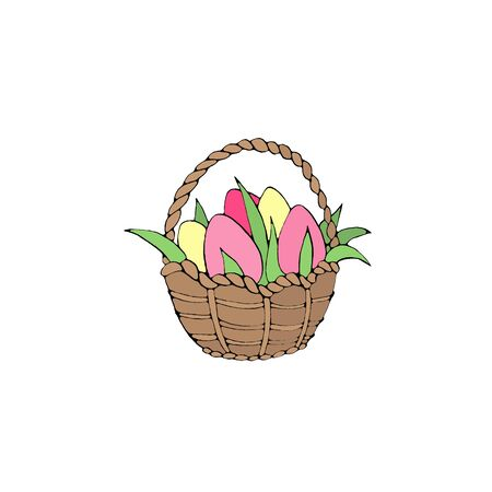 Happy Easter. Simple color Basket with eggs and Tulip flowers. Design element for spring, holiday, sticker, icons, greeting card.