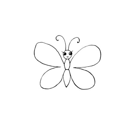 Contour cute butterfly with eyes hand drawn in cartoon style Doodle. Simple outline design element for spring, summer, postcard. Template for creativity for children, preschool education. Reklamní fotografie