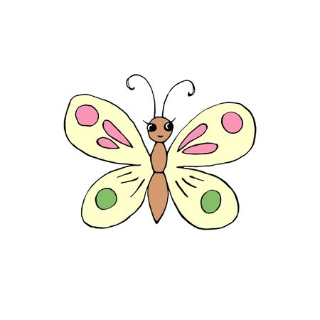 Color cute butterfly with eyes hand drawn in cartoon style Doodle. Simple design element for spring, summer, postcard. Template for creativity for children, preschool education.