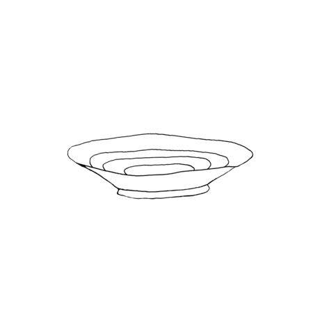 Contour plate, dishes. Simple outline illustration in Doodle style. Design element.