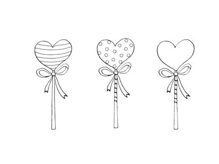 Set of Contour Heart Shaped Lollipop Candy with ribbon. Coloring page, Valentines Day, Easter, holidays clip art element. Hand drawn, outline, black and white, simple illustration. 版權商用圖片