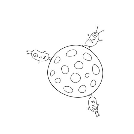Cute funny aliens are standing on round moon, planet. Taking over the world. Emotions. Design element, icon on the theme of UFOs, space. Doodle vector outline illustration.